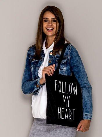 Czarna torba materiałowa FOLLOW MY HEART