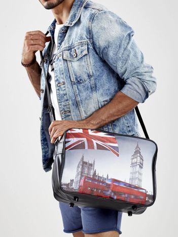 Czarna torba męska z ekoskóry z motywem Londynu