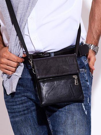 Czarna torba męska z klapką