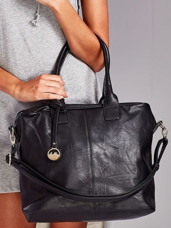 Czarna torba shopper bag z odpinanym paskiem