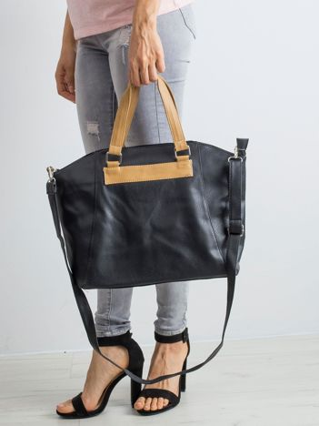 Czarna torba shopper ze skóry ekologicznej