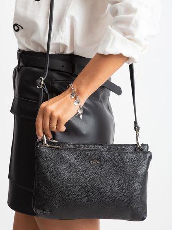 Czarna torebka damska ze skóry naturalnej