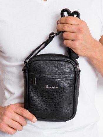 Czarna torebka męska ze skóry naturalnej