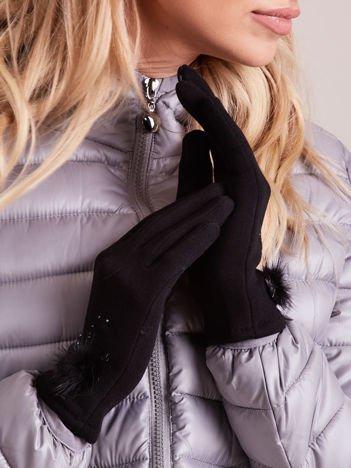 Czarne DOTYKOWE Rękawiczki Damskie z Puszkiem