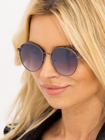 Czarne Damskie Okulary Słoneczne Z PERŁAMI Na Zausznikach