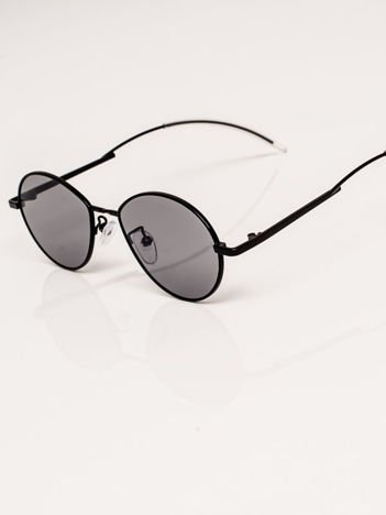 Czarne Metalowe Owalne Okulary Unisex