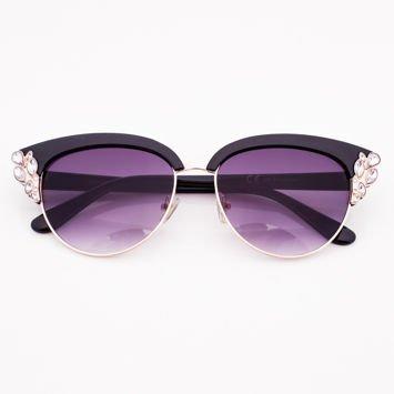 Czarne Okulary przeciwsłoneczne z Kryształami