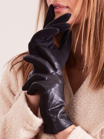 Czarne Pikowane Damskie Rękawiczki ze Skóry Ekologicznej