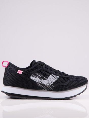Czarne ażurowe buty sportowe na piankowej podwyższonej podeszwie