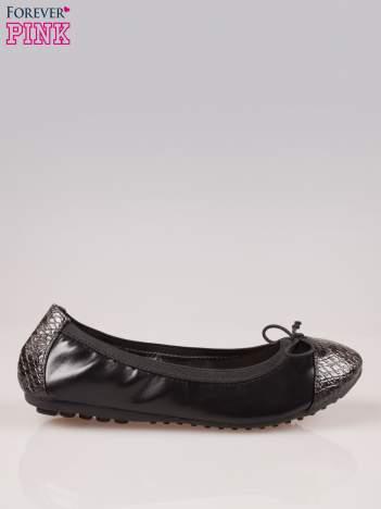 Czarne baleriny faux snake leather na gumkę z wężowym noskiem