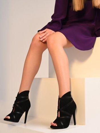 Czarne botki na szpilkach z suwakiem na tyle cholewki