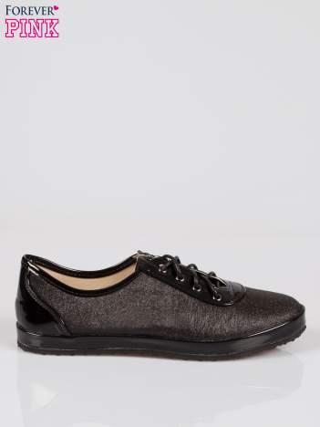Czarne buty sportowe faux leather Adorable z efektem glitter