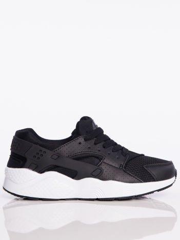 Czarne buty sportowe na spręzystej podeszwie z gumowanymi wstawkami na pięcie
