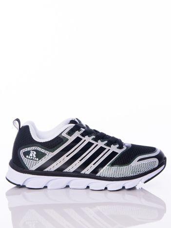 02840e14 Czarne buty sportowe zdobione białymi wstawkami na sprężystej podeszwie