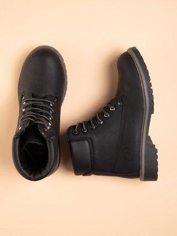 Czarne buty trekkingowe damskie, traperki z ciemną podeszwą i czarną cholewką