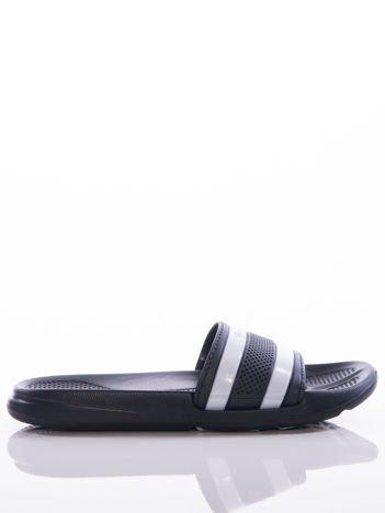 Czarne damskie klapki basenowe Mc Keylor z ażurową cholewką i białymi paskami