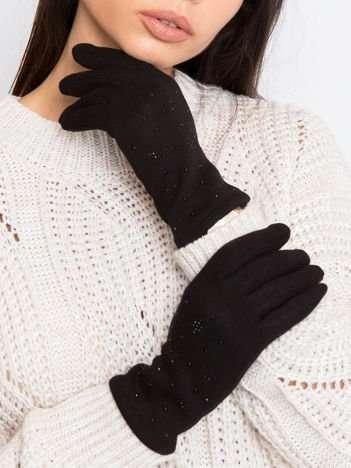 Czarne damskie rękawiczki z aplikacjami