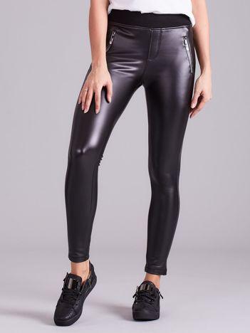 Czarne dopasowane spodnie skórzane