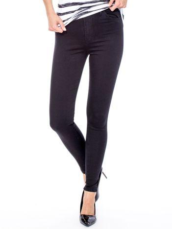 Czarne dopasowane spodnie z wysokim stanem