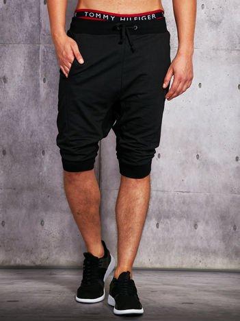 Czarne dresowe szorty męskie ze ściągaczami