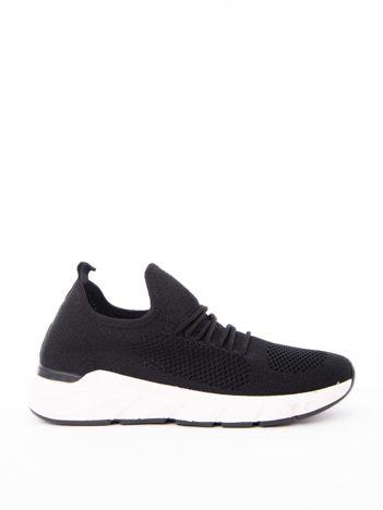 Czarne dzianinowe buty sportowe na profilowanej podeszwie