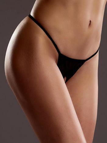 Czarne erotyczne stringi z otwartym krokiem i siatką