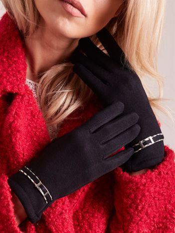 Czarne klasyczne rękawiczki z klamerką