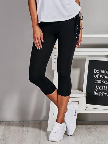 Czarne krótkie legginsy lace up