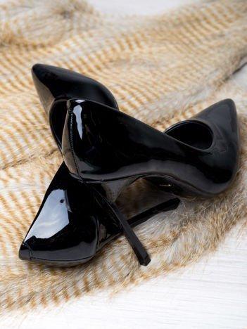 Czarne lakierowane szpilki Lily z kwadratowym wysokim obcasem, w szpic