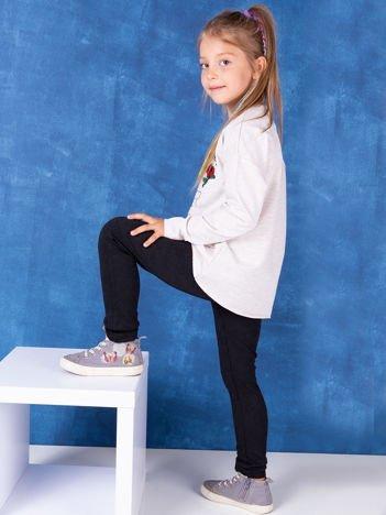 Czarne legginsy dla dziewczynki w tłoczony wzór