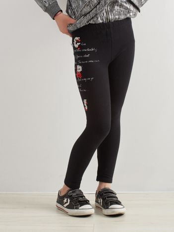 Czarne legginsy dla dziewczynki z aplikacją