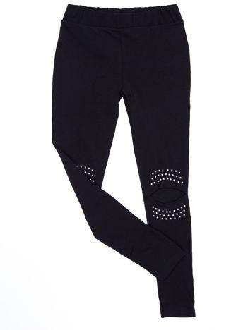 Czarne legginsy dla dziewczynki z siateczkową wstawką