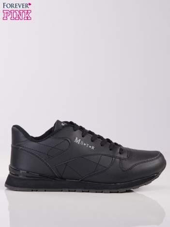 Czarne lekkie buty sportowe faux leather Progress na piankowej podeszwie z napisem z boku