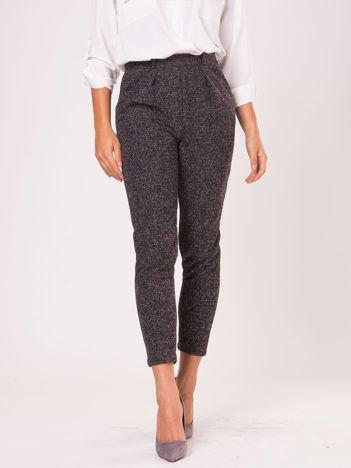Czarne materiałowe spodnie melange