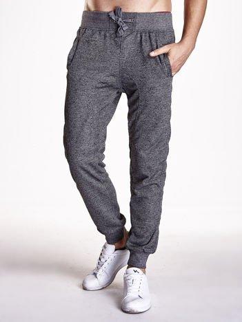 Czarne melanżowe spodnie z trokami i kieszeniami