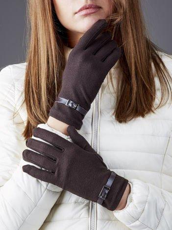 Czarne miękkie rękawiczki z klamerkami