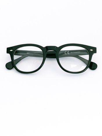 Czarne okulary zerówki typu wayfarer