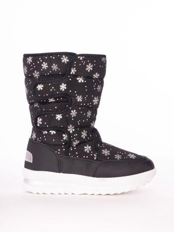 Czarne pikowane śniegowce w srebrne gwiazdki