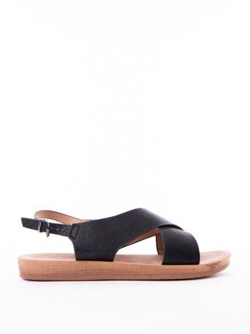 Czarne sandały Mulanka z tłoczoną fakturą