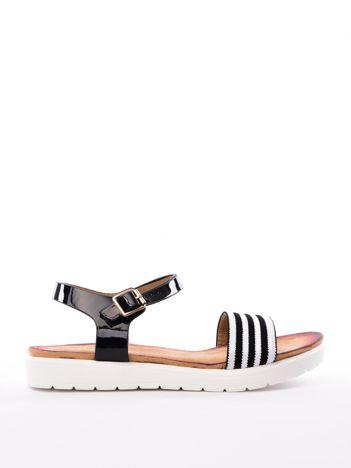 Czarne sandały SABATINA w białe prążki