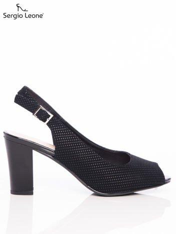 Czarne sandały Sergio Leone w tłoczone kropeczki