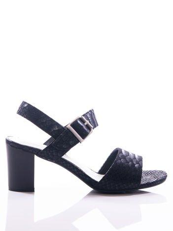 Czarne sandały Sergio Leone z fakturą rybiej łuski