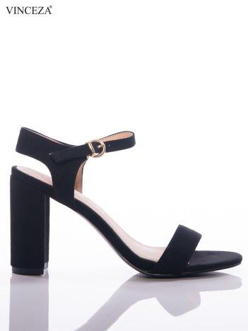 Czarne sandały Vinceza na szerokim słupku