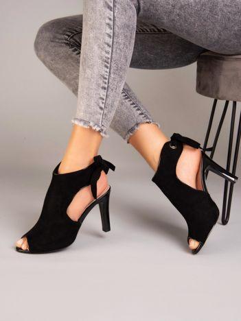Czarne sandały na szpilkach SERGIO LEONE wiązane na tyle cholewki