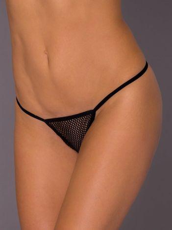 Czarne siatkowe stringi erotyczne