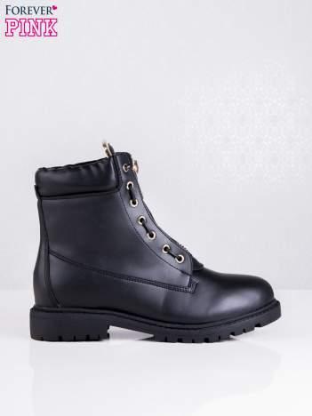 Czarne skórzane traperki leather Fancy ze złotym suwakiem i dodatkami