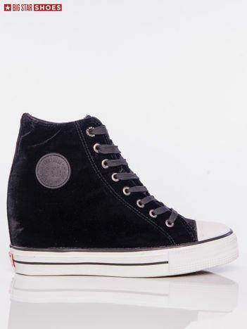 Czarne sneakersy BIG STAR z tłoczonego półbłyszczącego materiału