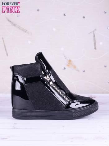 Czarne sneakersy Callie z suwakiem z boku, lakierowanymi wstawkami i materiełem z efektem glitter