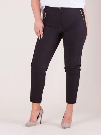 Czarne spodnie z suwakami PLUS SIZE