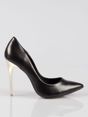 Czarne szpilki na złotym obcasie Gold Heels